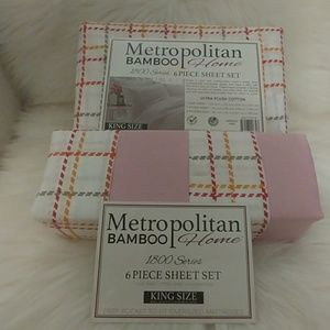 Metropolitan Bamboo King White Plaid Sheet Set